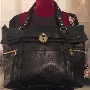 🌺🌺JUICY COUTURE L BLK LEATHER TOTE BAG